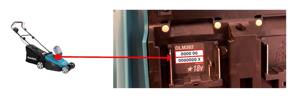 Serienummer op typeplaatje binnenkant